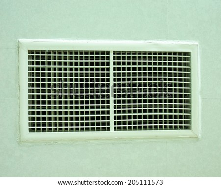 Air duct square shapes are designed to be installed on the wall.                                - stock photo