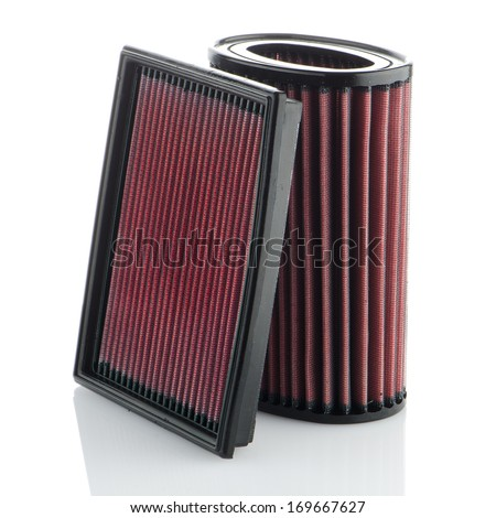 Air filters on white background. Vehicle Modification Accessories. - stock photo