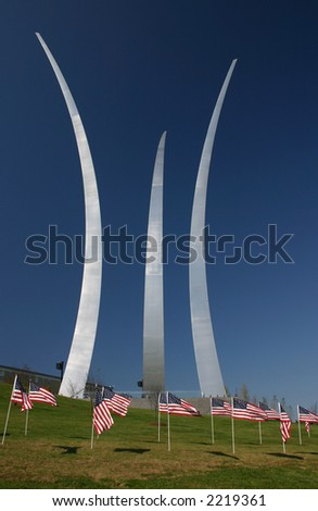 Air Force Memorial in Arlington Virginia on a clear Fall day - stock photo