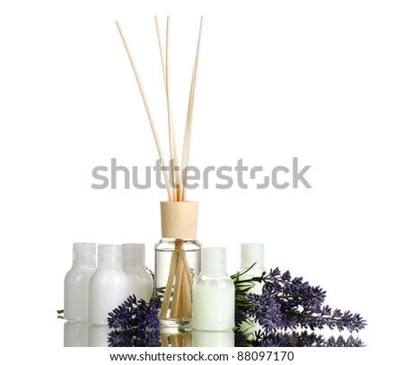 air freshener, bottles and lavander isolated on white - stock photo
