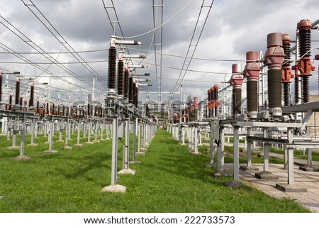Air insulated high voltage substation - stock photo