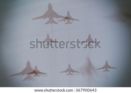 Air invasion concept, double exposure - stock photo