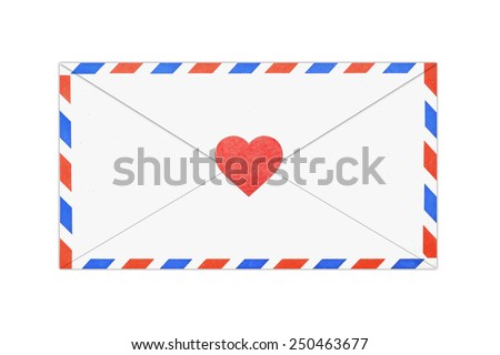 air mail envelope isolated on white - stock photo