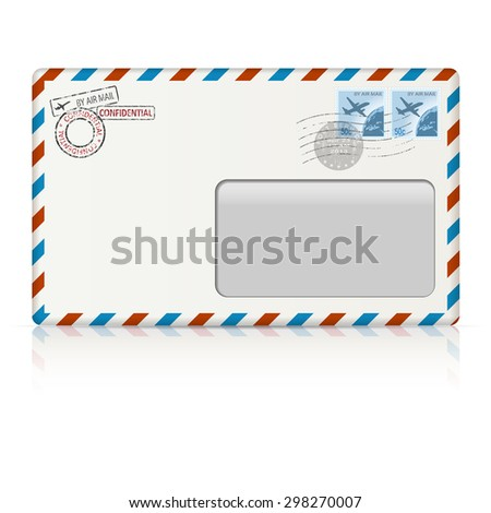 Air mail envelope with postal stamp on white background. illustration. - stock photo