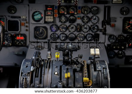 Air plan control stick in side pilot cockpit - stock photo
