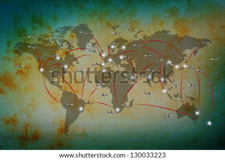 air plane flying on classic world map use for world destination background - stock photo