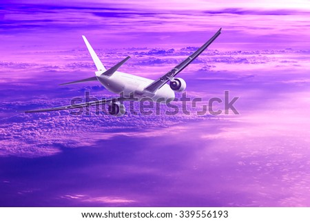 air plane flying with nice sky - stock photo