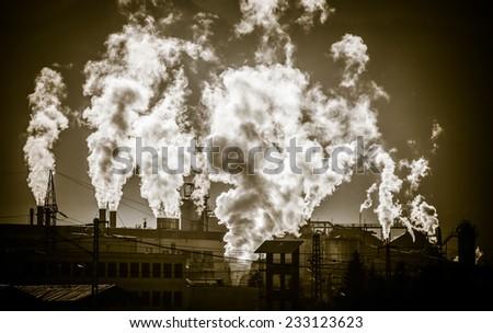 Air pollutants - factory Mondi at town Ruzomberok, Slovakia - stock photo
