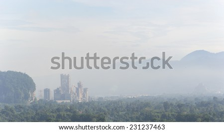 air polluting factory - stock photo