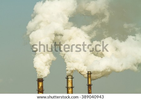 Air pollution smoke from factory, Thailand - stock photo