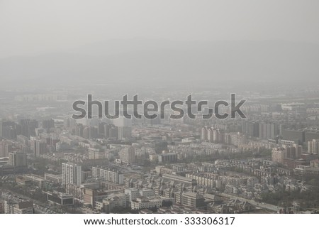 air polution over Beijing, China, 2015 - stock photo