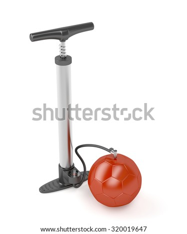 Air pump inflates soccer ball - stock photo
