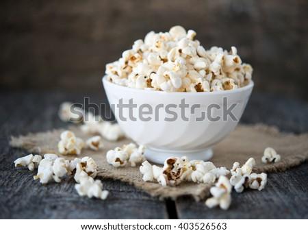 Air salty popcorn - stock photo