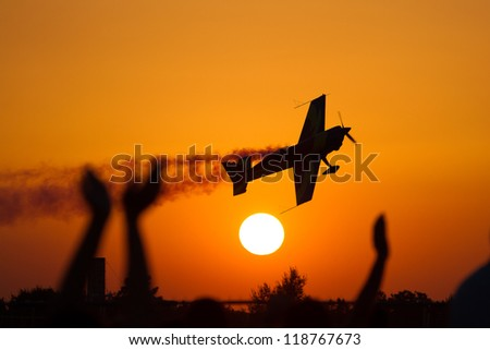 Air show at sunset - stock photo