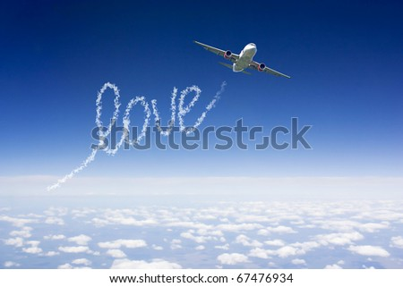 Air show love loop - stock photo
