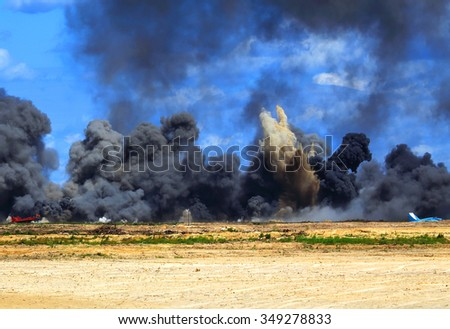 Air strikes on targets during military exercise - stock photo