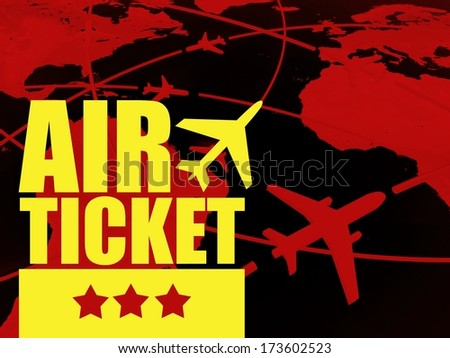 Air ticket travel concept, airlines on world map - stock photo