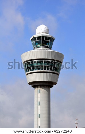 Air Traffic Control tower. Amsterdam Schiphol International. - stock photo