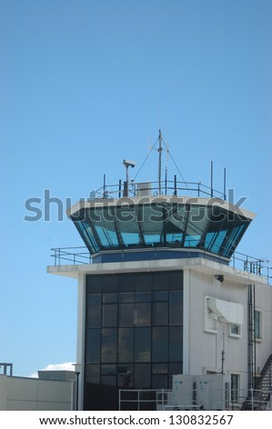 air traffic control tower, Christchurch International Airport, New Zealand - stock photo