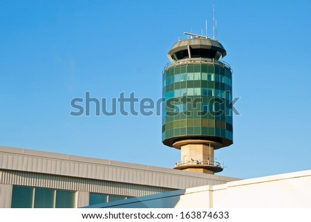 Air traffic control tower in Vancouver YVR airport - stock photo