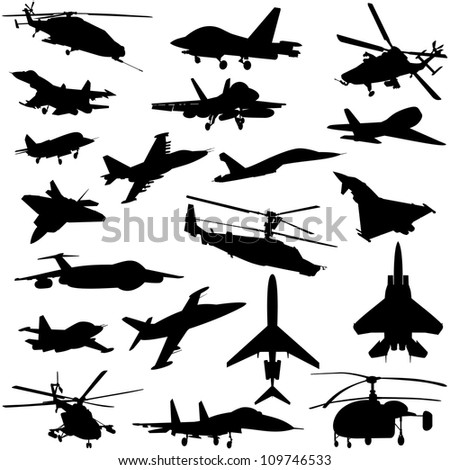Air transport. A set of paths of aircraft and helicopters. Black and white illustration. - stock photo