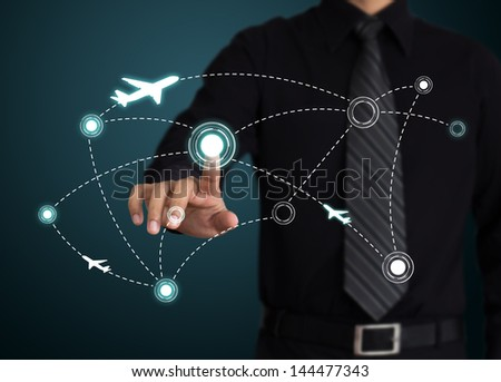 Air travel. Airplanes on their destination routes. - stock photo