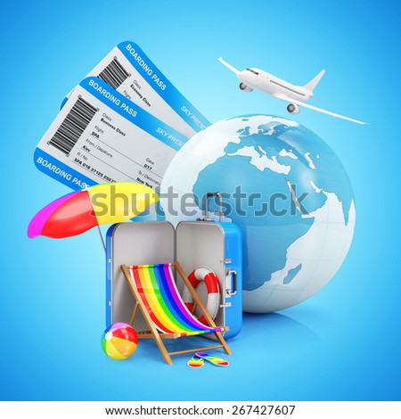 Air Travel and Vacation Concept. Earth Globe with Airline Boarding Pass Tickets, Summer Accessories and Flying Passenger Airplane on gradient background. ( Elements of this image furnished by NASA ) - stock photo