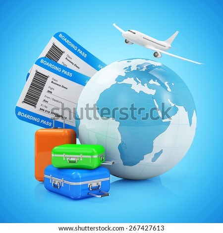 Air Travel and Vocation Concept. Earth Globe with Airline Boarding Pass Tickets, Luggage and Flying Passenger Airplane isolated on gradient background. ( Elements of this image furnished by NASA ) - stock photo