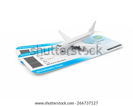 Air Travel Concept. Airline Boarding Pass Tickets with Modern Passenger Airplane isolated on white background. Passenger Airplane and Tickets of My Own Design - stock photo