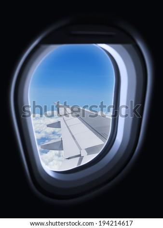 Air travel concept, vertical composition - stock photo