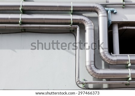 Air ventilating tube in building - stock photo