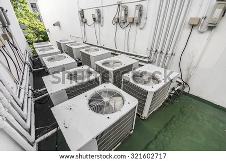 air ventilation system on the roof of the building                                - stock photo