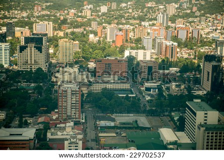 Air view of Guatemala city - stock photo