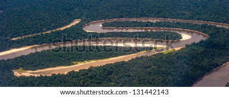Air view of the Amazon part of the river - stock photo