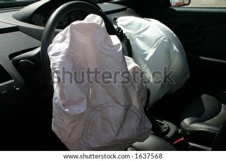 airbags deployed in a hit and run accident - stock photo