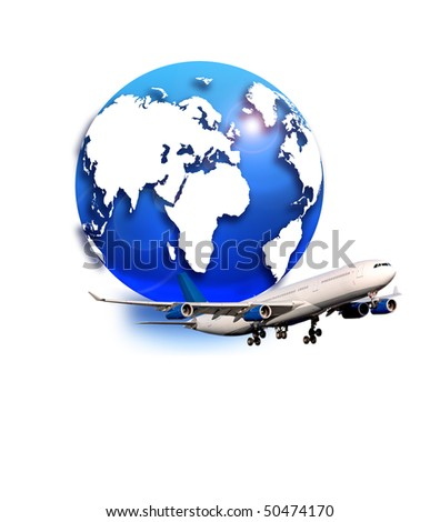 Airbus A-340 and globe - stock photo