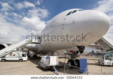 Airbus A380 on Ground without trademarks - stock photo