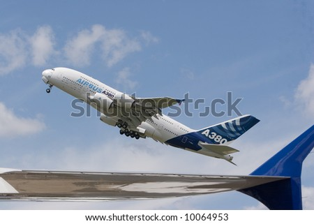 Airbus A380 take of - stock photo
