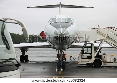 Airbus at airport terminal prepare to boarding. Pulkovo airport, Saint Petersburg, Russia - stock photo