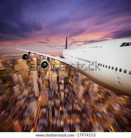Aircraft above city - stock photo