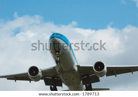 aircraft approaching airport - stock photo