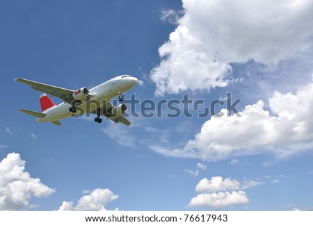 Aircraft at landing - stock photo