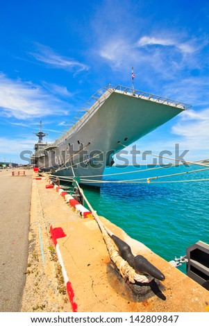 Aircraft carrier and battleship - stock photo