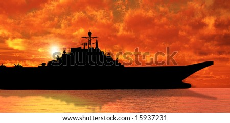 Aircraft carrier on sea near Iraq over sunset - stock photo