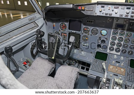 Aircraft dashboard. View inside the pilot's cabin. - stock photo
