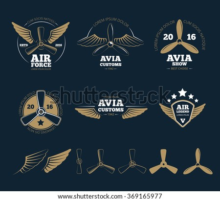Aircraft design elements and aircraft logos - stock photo