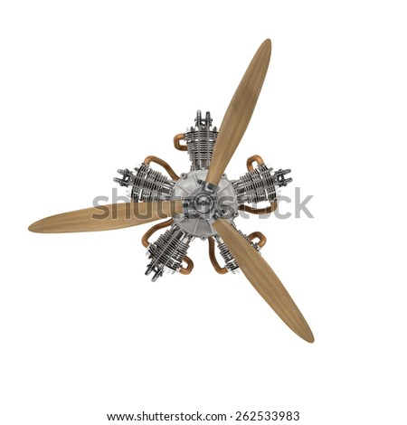 aircraft engine with propeller isolated on white with clipping path - stock photo