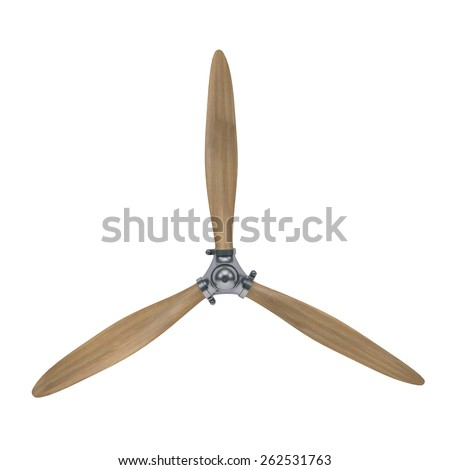 aircraft engine wooden propeller isolated on white with clipping path - stock photo