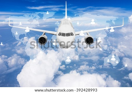 Aircraft flying high above the clouds with  world map connections, Elements of this image furnished by NASA. - stock photo