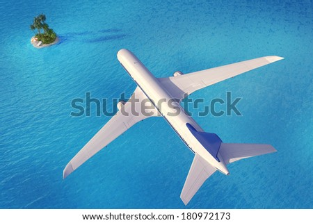 Aircraft flying to a tropical island  - stock photo